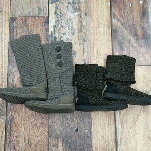 UGG Knit Boots Size 6 Two Pair Black and Grey